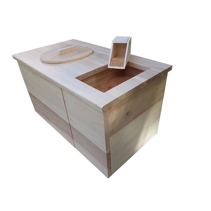 Meuble toilette sèche d'intérieur, avec réservoir à sciure, livrée avec accessoires: seau, porte papier , pelle à sciure, sacs compostables.