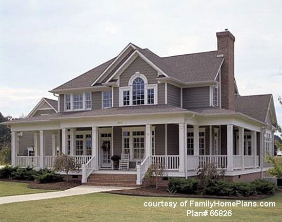 Farmhouse style home with huge wrap-around porch, a Front-Porch-Ideas-and-More reader favorite- click through to see the plan! (affiliate link)