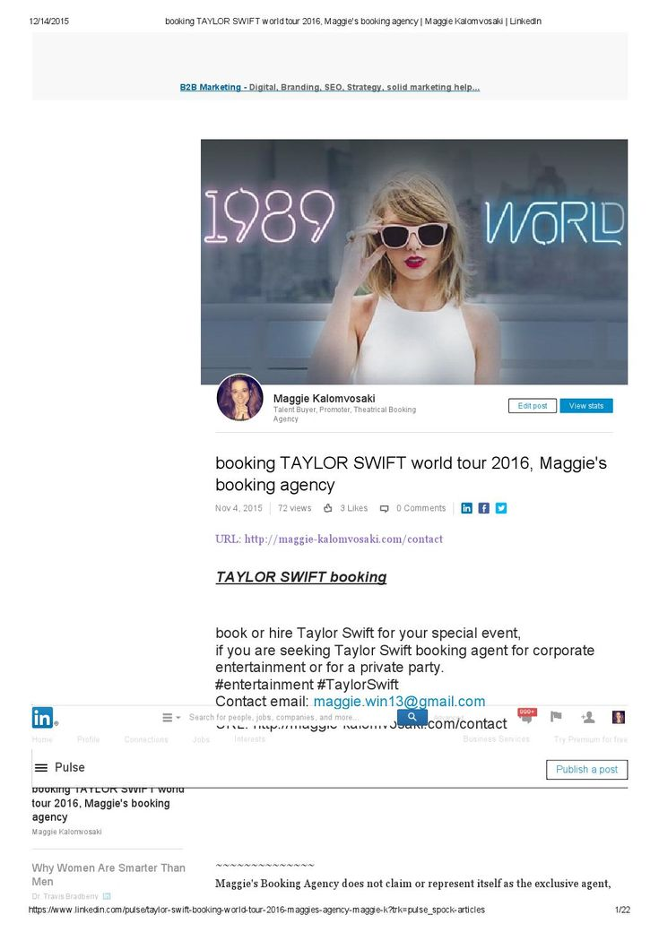 Booking taylor swift world tour 2016, maggie's booking agency maggie kalomvosaki