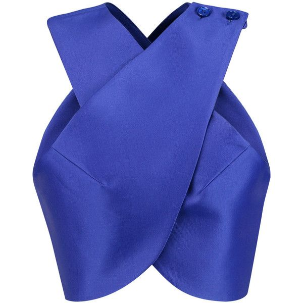 Carven Satin-twill wrap top (1.902.940 IDR) ❤ liked on Polyvore featuring tops, shirts, crop, royal blue, structure shirt, wrap top, satin top, blue crop top and blue shirt