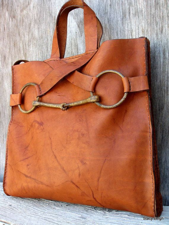 Equestrian Horse Bit Tote Bag in Saddle Montana di stacyleigh