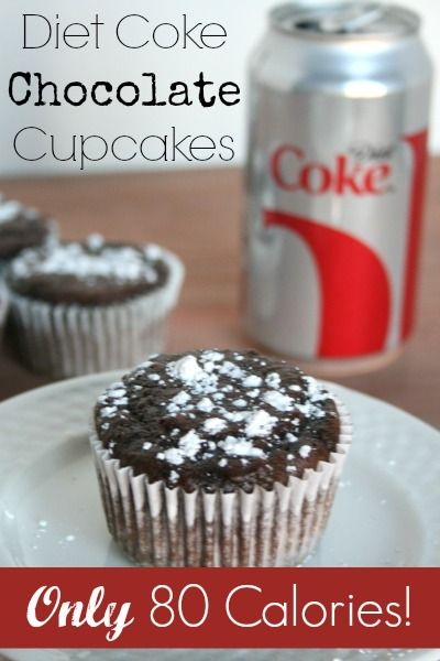 Diet Coke Chocolate Cupcakes - only 2 ingredients and only 80 calories each!