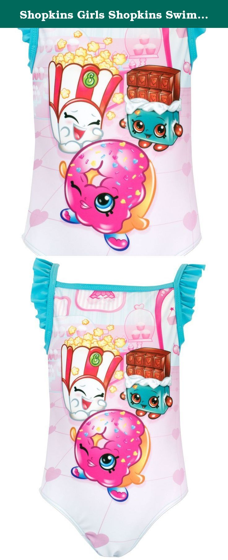 Shopkins Girls Shopkins Swimsuit Size 7. Girls Shopkins Swimming Costume. She'll be the sweetest looking little girl this summer in this cute Shopkins bathing suit! With favourites such as Donna Donut, Poppy Corn & Cheeky Chocolate in the cute all over print, her friends will be wanting to know where they can get theirs from!.