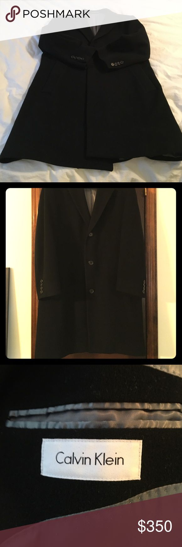 Calvin Klein mens black like-new car coat Calvin Klein men's car coat in gorgeous black with perfect gray silk lining.::wool and cashmere-- super soft!!  Size 40 short...like-new condition Calvin Klein Jackets & Coats