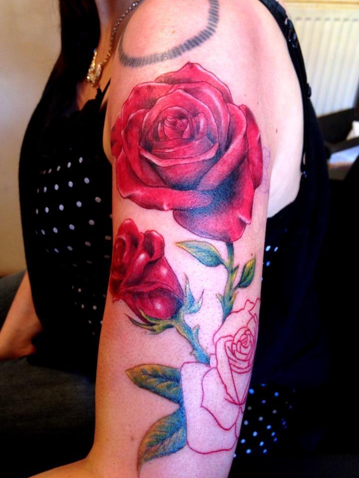 Realistic rose half sleeve tattoo beautiful detail and for Beautiful half sleeve tattoos