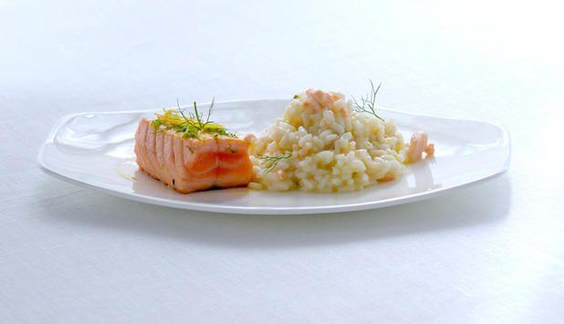 Laks med sitron og risotto - Godfisk