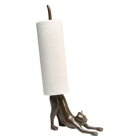 Cat Paper Towel Holder in Cast Iron at What on Earth | CP5336