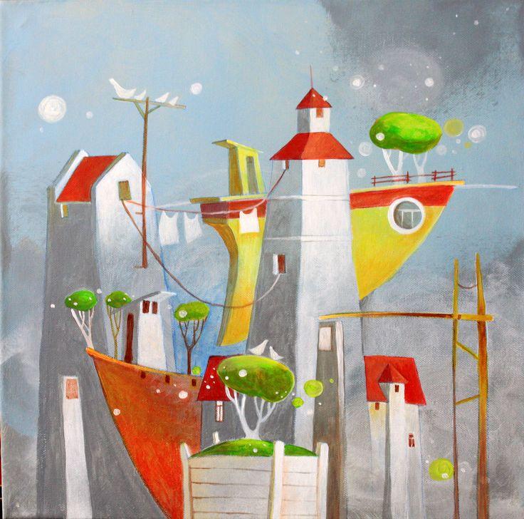 in harbor ( v prístave ) / akryl na plátne / 40 cm x 40 cm
