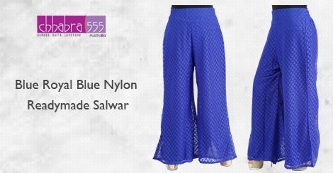 Blue Royal Blue Nylon Readymade Salwar in @ $24.95 AUD with Responsive ‪‎Customer Service‬ enquiries responded within 24 hours from ‪‎Chhabra555‬ in ‪Australia‬.