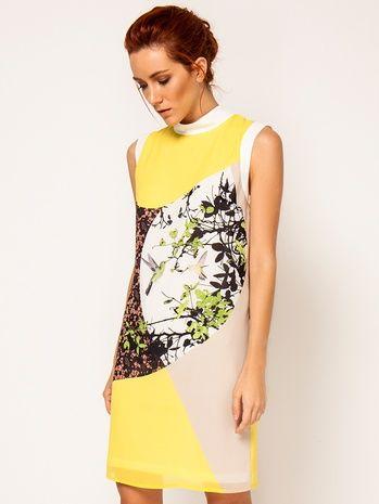 Kuş Desenli Sarı/Krem Elbise