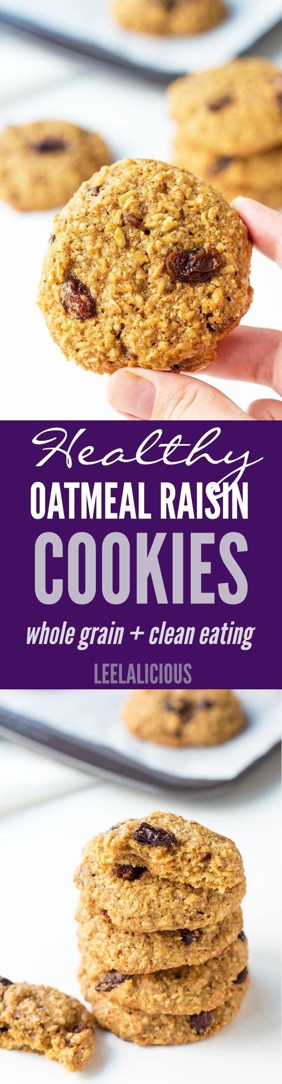 This healthy Oatmeal Raisin Cookies Recipe uses whole grain oats and spelt flour to make chewy and soft oatmeal cookies that are delicious and clean eating.