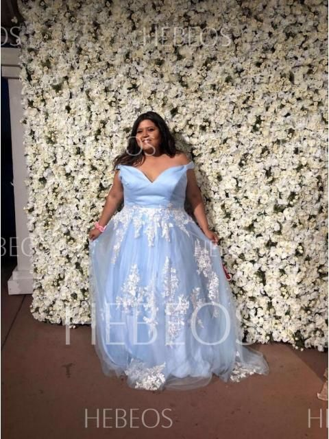 70780f49929f 2019 Brush Train Ball Gown Off-the-Shoulder Tulle Blue Prom Dresses |  HEBEOS Dresses Review❤️HEBEOS Reveiw