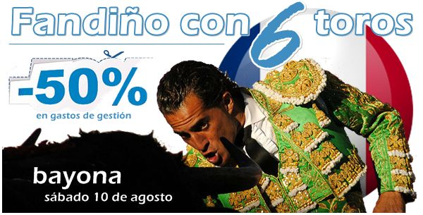 OFERTA - Sólo hoy, 50% de DESCUENTO Toroticket para ver el sábado la encerrona de IVÁN FANDIÑO en Bayona   http://www.toroticket.com/506-entradas-toros-bayona-sabado-10-de-agosto-1800 …