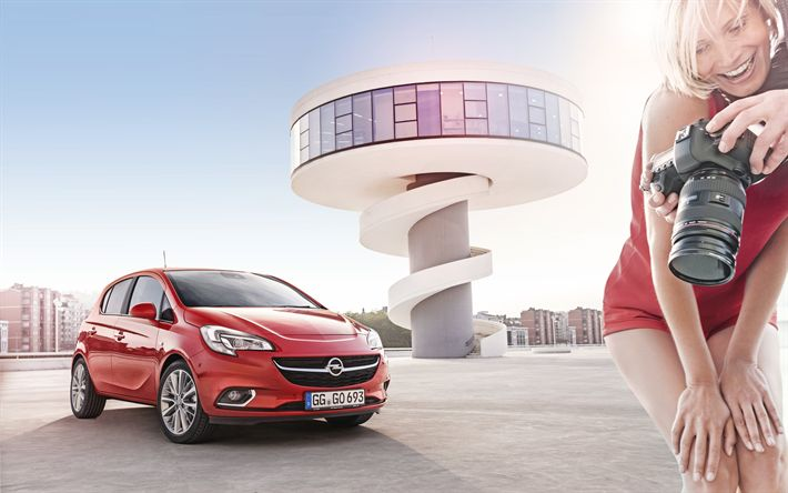 Download wallpapers Opel Corsa, 2018, small hatchback, new red Corsa, German cars, exterior, photoshoot, Opel