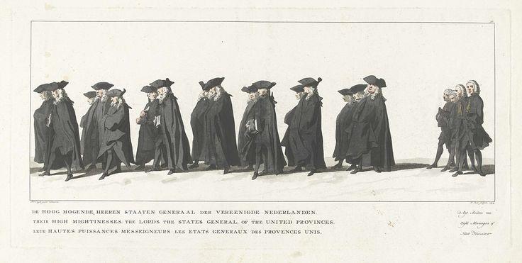 Jan Punt | Lijkstatie van Willem IV, 1752, plaat 30, Jan Punt, 1754 | Leden van de Staten-Generaal. In de marge het onderschrift in Nederlands, Frans en Duits. Onderdeel van een serie van 41 platen van de begrafenisstoet van stadhouder Willem IV te Delft op 4 februari 1752. Genummerd rechtsboven: 30.
