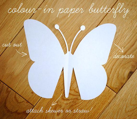 paper butterfly {with template}Butterflies Crafts, Butterflies Kids Parties, Quick Kids, Summer Parties, Craft Papers, Paper Butterflies Templates, Art Deco Diamonds, Bambini Del, Kids Crafts Paper