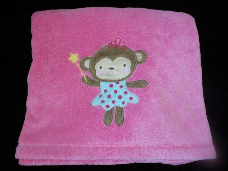 Baby Starters Monkey Blanket Pink Wand Polka Dot Plush Girls #BabyStarters