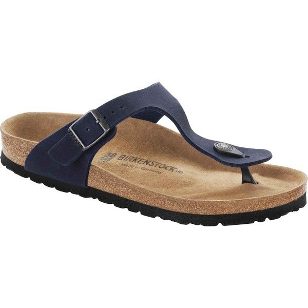 Birkenstock Women's Gizeh Vegan Navy Microfiber Thongs & Flip-Flops ($95) ❤ liked on Polyvore featuring shoes, sandals, flip flops, blue, navy thong sandals, birkenstock sandals, thong sandals, navy blue flip flops and blue shoes