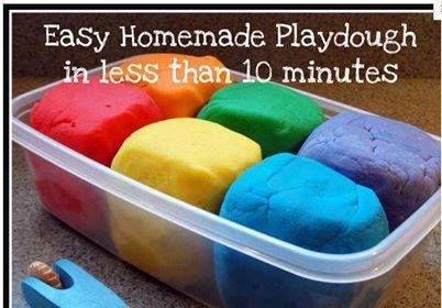 HOMEMADE PLAYDOUGH  Ingredients  1 cup flour 1 cup water 2 teaspoon cream of tartar 1/3 cup salt 1 tablespoon vegetable oil food coloring Instructions  Mix together all the ingredients, except the food coloring, in a 2 quart saucepan. Cook over low/medium heat, stirring. Once it begins to thicken, add the food coloring. Continue stirring until the mixture is much thicker and begins to gather around the spoon.  Remove the dough onto wax paper or a plate to cool.