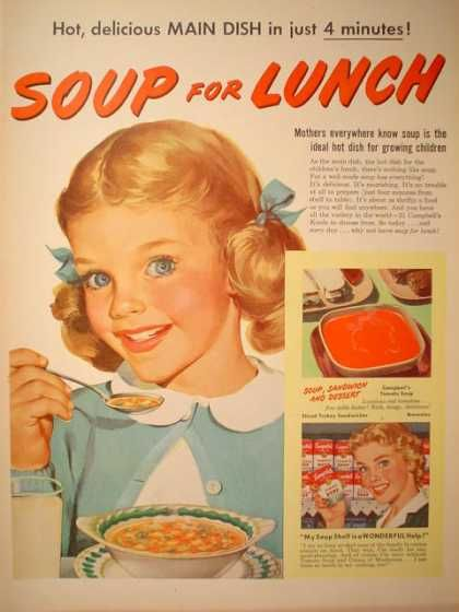 Campbells Soup for Lunch ~ we used to walk home from school for PB sandwiches with chicken noodle soup every day at noon.
