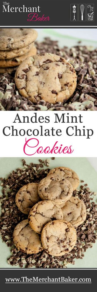 Andes Mint Chocolate Chip Cookies. A classic cookie made with a classic candy. Perfectly chewy and filled with crème de menthe chocolate baking chips.