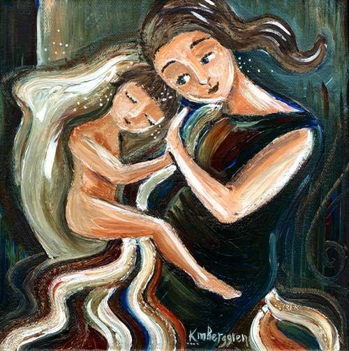 impresión archival, impresión en lienzo, la madre del niño, azul, rojo, blanco, familia, el afecto, el pelo cálido, largo, pelo marrón, niño, el apego, morena, pelo corto, manta, regalo para la mamá, ojos azules, dormir, cama de la familia , cosleep, co-dormir, desnudo, piernas, almohada