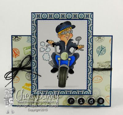 """High Hopes Stamps: Let's Ride! by Cheri using """"Bob Loves His Motorcycle"""" (S526)"""