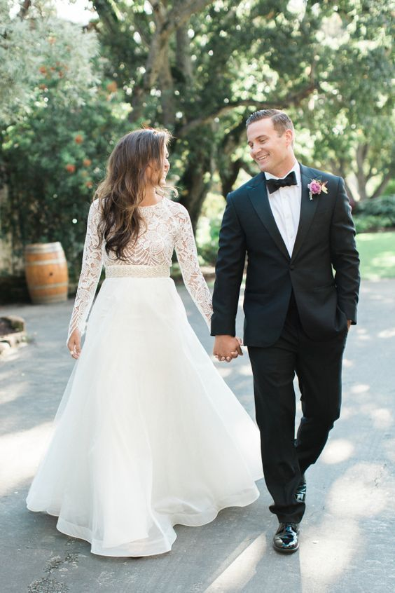 How stunning is this crochet top long sleeve wedding dress? http://www.stylemepretty.com/california-weddings/carmel-valley/2016/03/10/elegant-organic-romantic-holman-ranch-inspiration-shoot/ | Photography: Carlie Statsky - http://www.carliestatsky.com/: