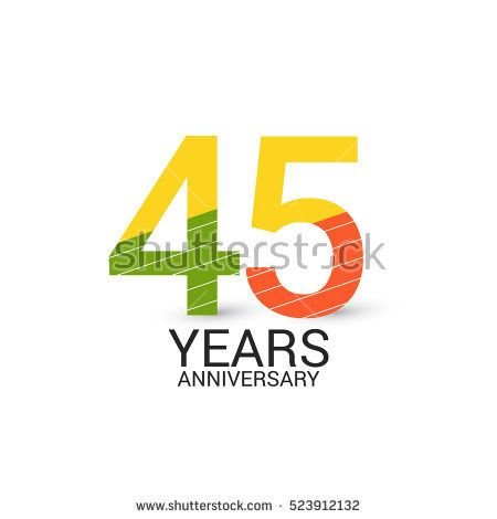 45 Years Anniversary Colorful and Simple Design Style. Logo Celebration Isolated on White Background
