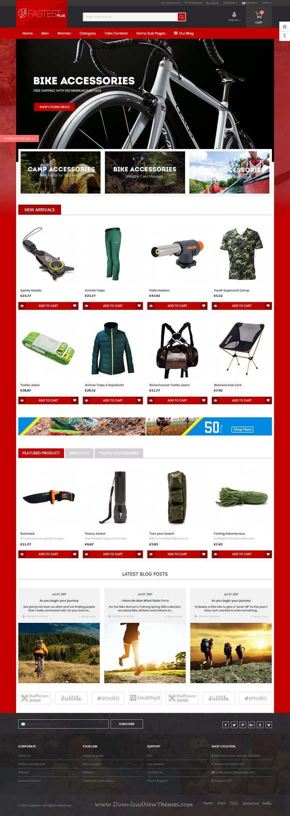Fastest Plus is clean, stylish and modern design responsive #Prestashop theme for stunning #sports and outdoor #gear store #eCommerce website with 12 niche homepage layouts download now..