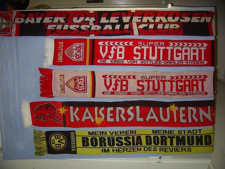 5x Fanschals, Fanartikel Schal BVB, VfB Stuttgart, 1.FCK Kais., Bayer 04 Leverku