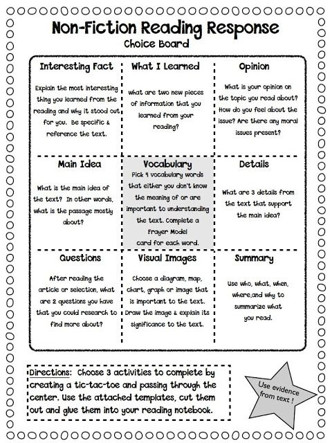 Non-Fiction Reading Response Choice Boards plus more printables for analyzing non-fiction