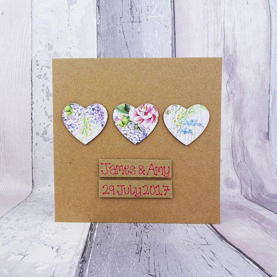 Floral hearts wedding card Handmade congratulations card