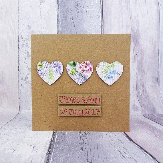 Floral hearts wedding card Handmade congratulations card