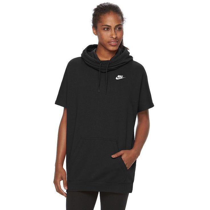 Women's Nike Short-Sleeve Fleece Hoodie, Size: Medium, Grey (Charcoal)