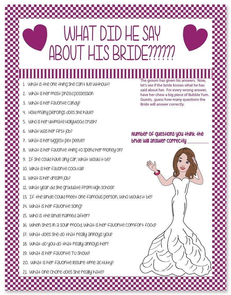 What did he say about his bride? Fun bridal shower game.