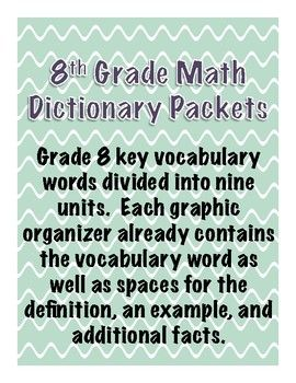 8th Grade Math Dictionary Vocabulary Packets For Entire Year