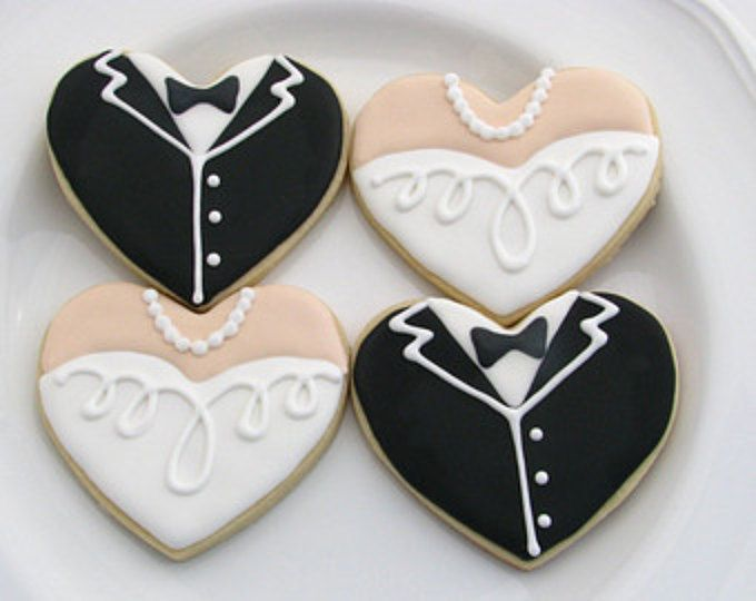 Galletas de boda | Novia y novio Cookies | Smoking y vestido de Cookies | Favores de la boda | Galletas de despedida de soltera | Una docena