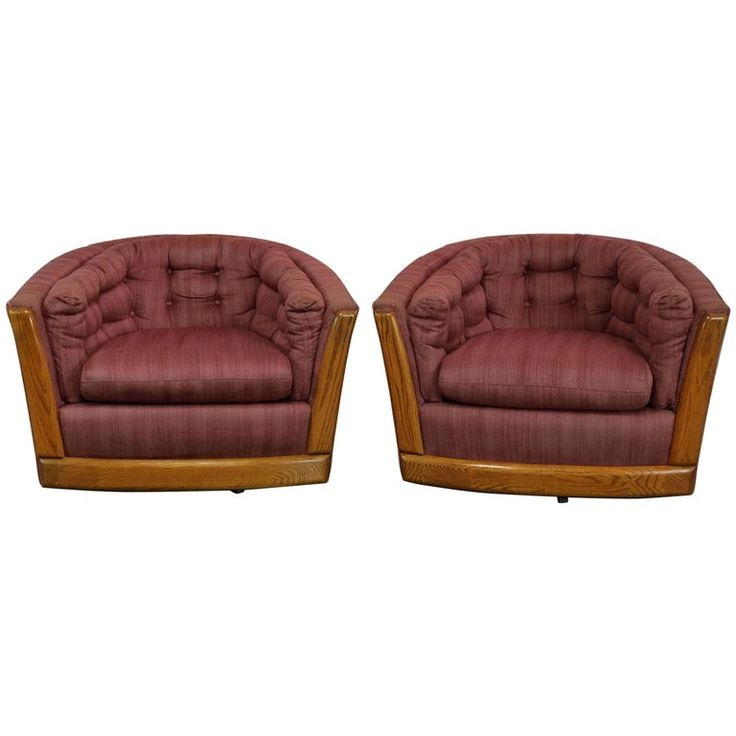 Pair Swivel Barrel Chairs with Oak Trim Style of Milo Baughman or Harvey Probber | From a unique collection of antique and modern club chairs at https://www.1stdibs.com/furniture/seating/club-chairs/