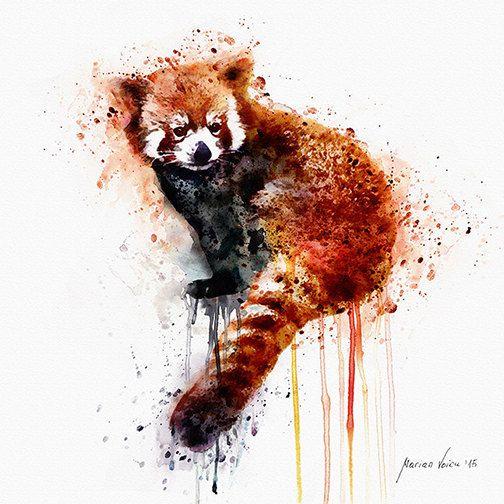 Red Panda Watercolor painting Wall art Animal art от Artsyndrome