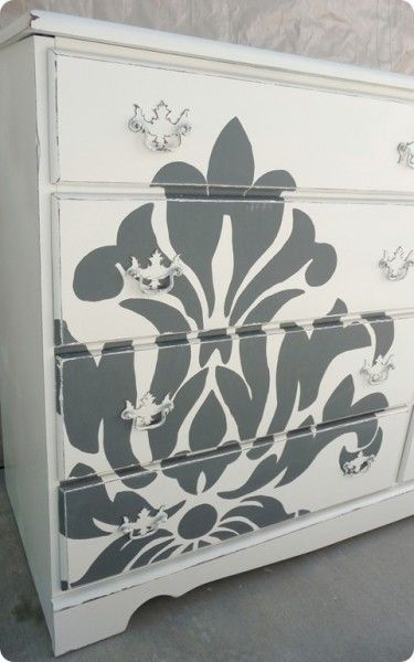 DiY Idea for hand painted furniture. Must try this on an armoire.