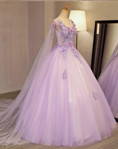 0b33536527 Unique Lilac Tulle Long Ball Gown Evening Dress with Flowers