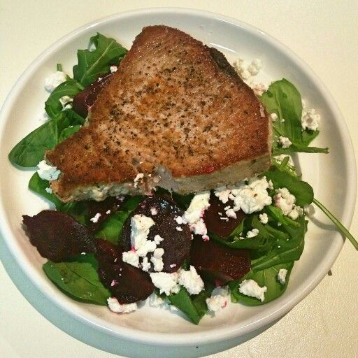 Tuna steal with a beetroot, feta and rocket salad