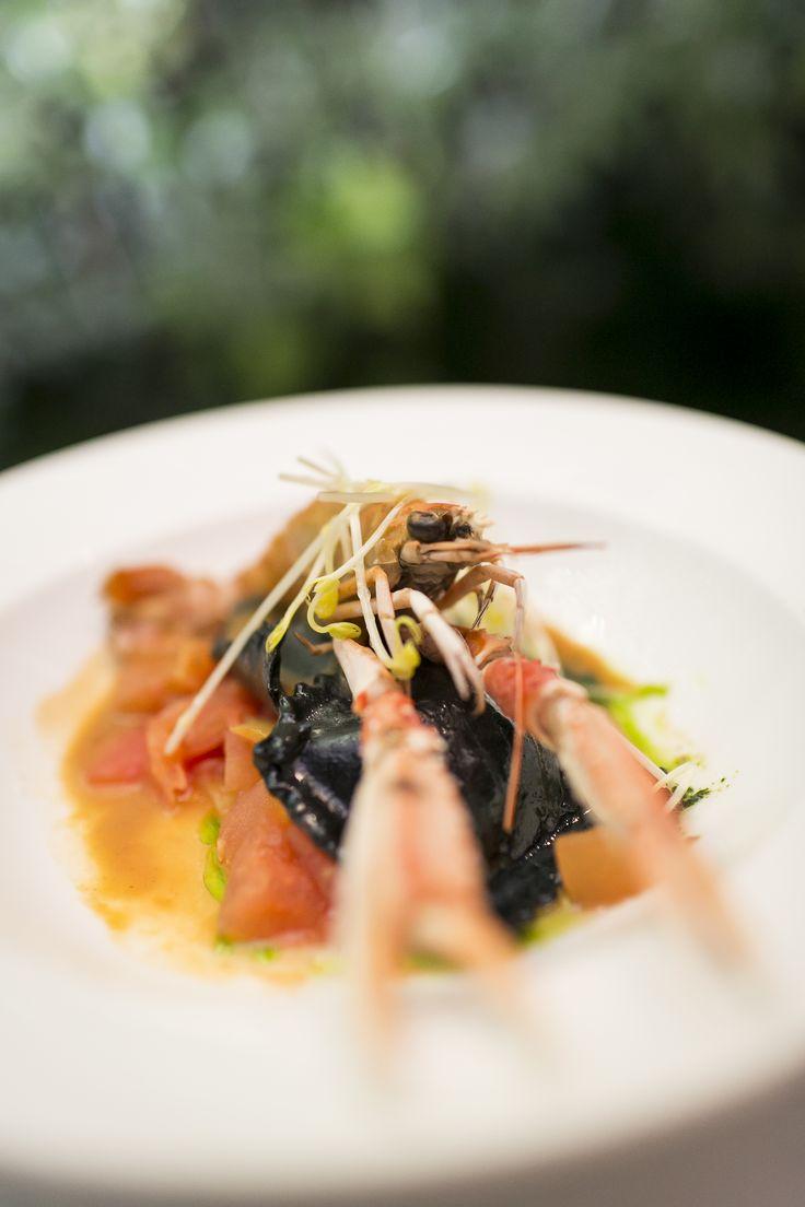 Black ravioli with seafood. #PrestigeFoodExperience working progress for #Summer2016