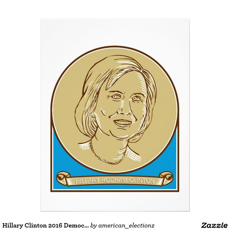 Hillary Clinton 2016 Democrat Candidate Letterhead. Illustration showing Democrat presidential candidate Hillary Clinton set inside circle with scroll or ribbon underneath showing her name on isolated background done in line drawing style. #Hillary2016 #democrat #americanelections #elections #vote2016 #election2016