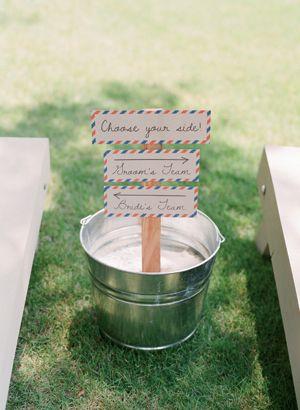 love this cornhole competition signage! | Melissa Schollaert #wedding