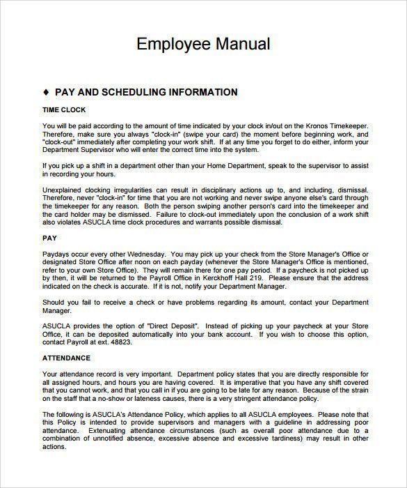 Free Employee Handbook Template Fantastic Sample Employee Manual Template 8 Documents In Pdf Employee Handbook Template Employee Handbook Templates Free Design