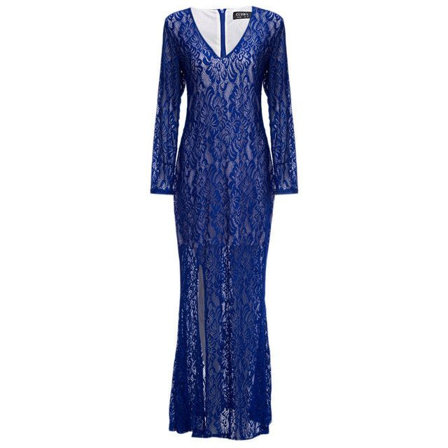 ZAFUL 3XL~6XL Elegant Lace Women Party Maxi Dress V Neck Long Sleeves Split High Quality Club Lining Feminino