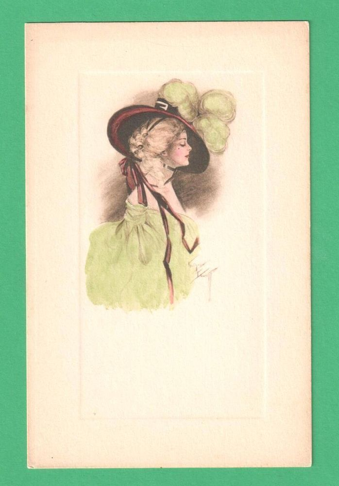 VINTAGE KATHRYN ELLIOTT HAND-PAINTED ART POSTCARD BEAUTIFUL LADY FEATHER HAT