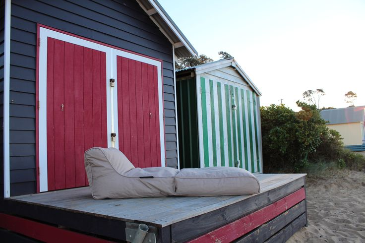 Ambient Lounge Conversion Lounger out the front of a beach hut. Total serenity. Mornington, Victoria, Australia.
